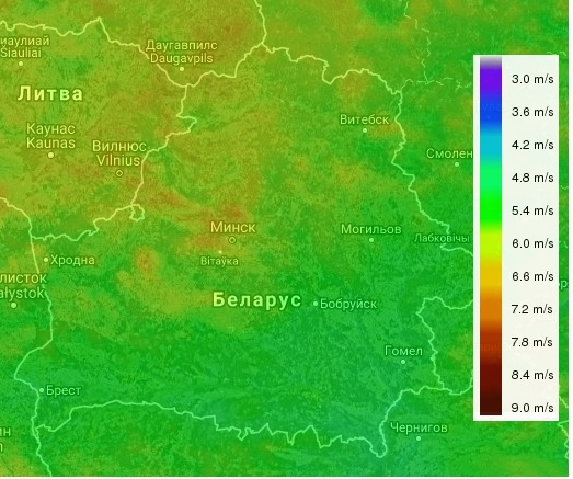 Belarus Wind Map at 80m