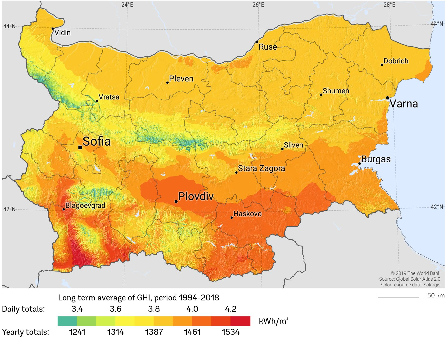 Bulgaria Solar Resource Map 2019 Reduced