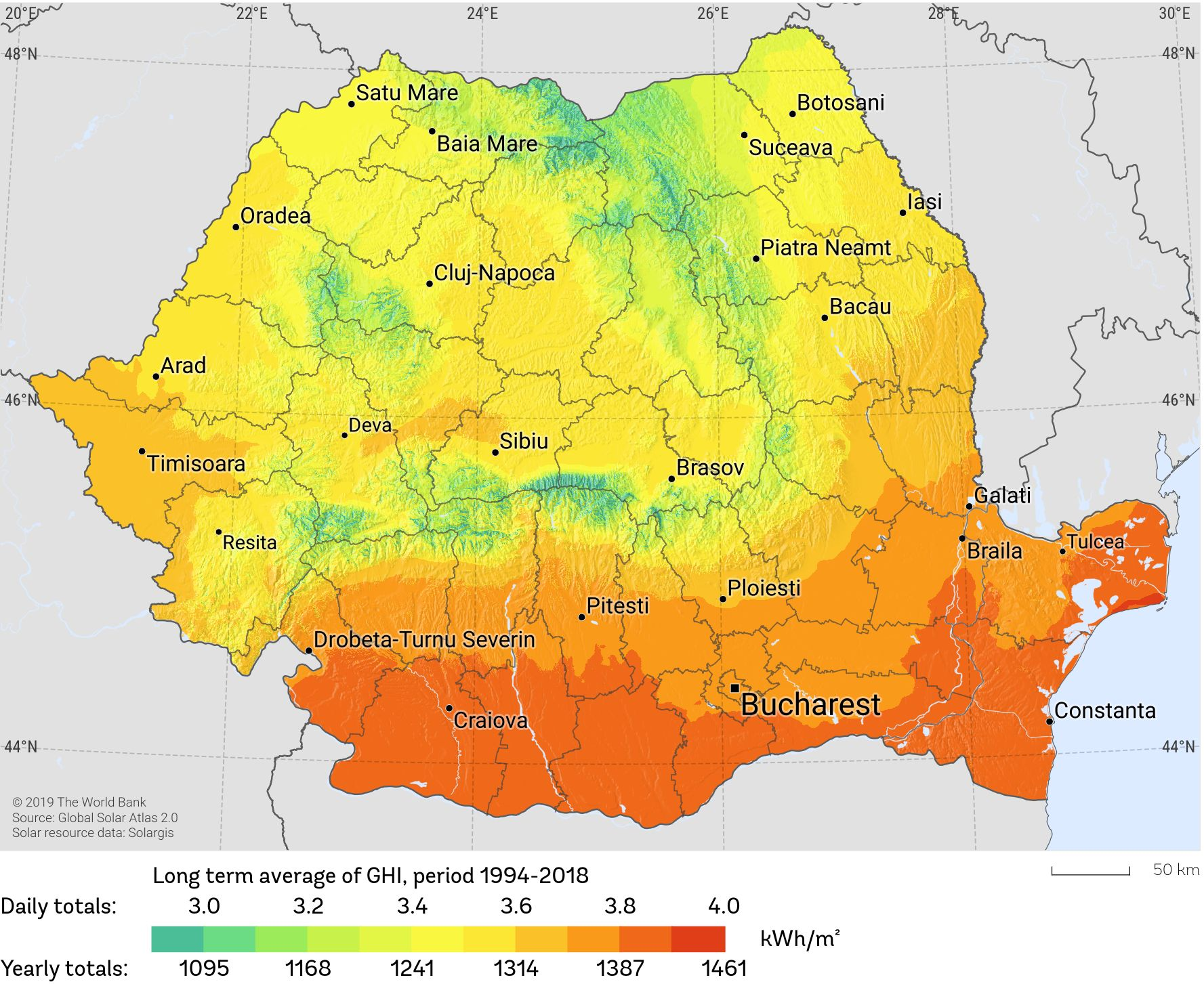 Romania Solar Resource Map 2019 Reduced JPEG