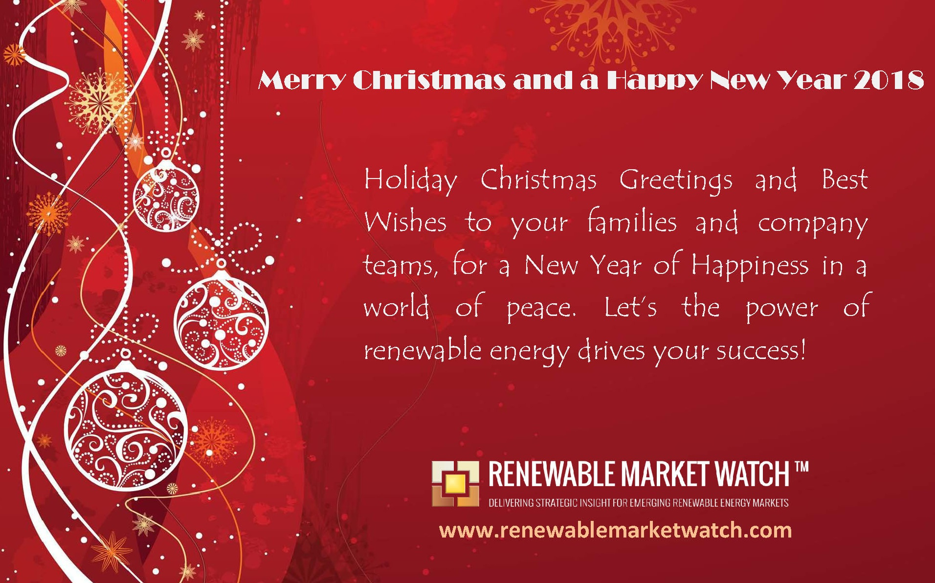 Seasons Greetings For 2018 From Renewable Market Watch
